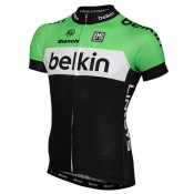 Santini Maillot Manches Courtes Belkin Pro Cycling 2014 Remise Nice