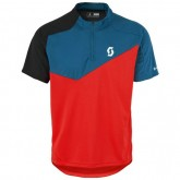Solde Scott Bikeshirt Trail Flow Q-Zip Rouge-Bleu