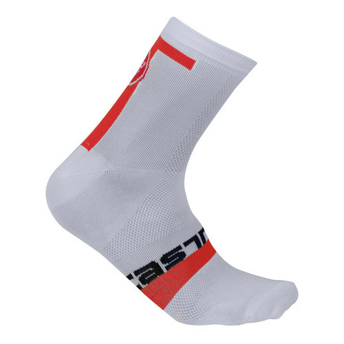 Castelli Chaussettes Meta 9 Blanches-Rouges